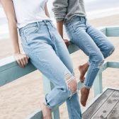 一定要有的浅蓝牛仔裤,Frame Le Skinny破洞秀腿牛仔裤$191.2(约1242元)