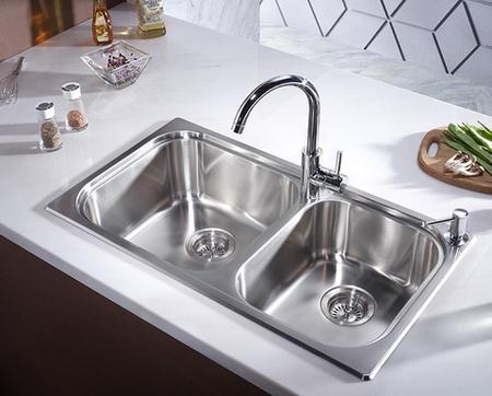 科勒(KOHLER) 77161T-2S-NA 不锈钢厨房双槽套装 无缝无死角 ¥899