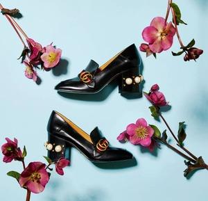 Gucci珍珠鞋、穆勒鞋上新, 正红Loafers补货