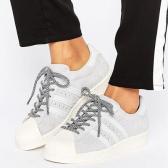 【免费直邮中国!】adidas Originals Superstar 女士浅灰色翻毛皮贝壳头鞋 £44(约384元)