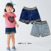 SkipLand 斯克莱 牛仔短裤 120cm 灰蓝斜条纹 1639日元(约104元)