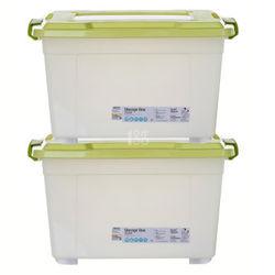 Citylong禧天龙大号环保塑料滑轮加厚盖子收纳箱超值2个装(中粉绿58L)超值2个装(中粉绿58L)6099 98.9元