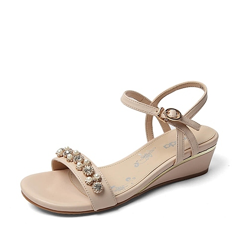¥119 Senda 森达夏季 米色软羊皮女凉鞋E3B20BL6
