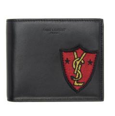 Saint Laurent Black Shield Patch East West Wallet 黑色真皮钱包