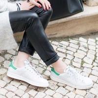 $30 adidas Stan Smith 绿尾小白鞋大童款特卖 女生可选