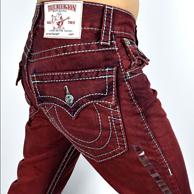 风骚牛仔8倍差价!True Religion真实信仰彩色直筒牛仔裤  97.75美元约¥642(国内4K-5K)