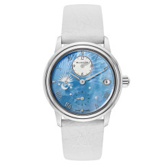 【4.1折】Blancpain 宝铂 Women Double Time Zone 系列 3760-1144-95A 女士淡蓝色珍珠母手表