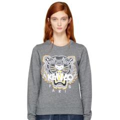 小降3刀~~Kenzo Grey Tiger Sweatshirt 女款灰色虎头卫衣