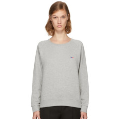 XS还剩最后一件~Maison Kitsuné Grey Tricolor Fox Patch Sweatshirt 灰色百搭卫衣