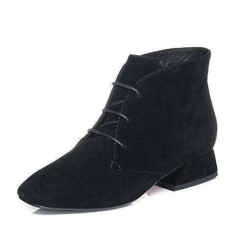 ¥288 Tata/他她2017冬黑色羊皮绒面绑带粗跟女休闲靴FT340DD7