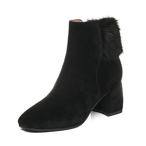 ¥358 Belle/百丽2017冬黑色优雅女人羊绒皮女短靴BUE45DD7