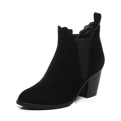 ¥268 Belle/ 百丽 黑色简约羊绒皮女短靴38505CD7