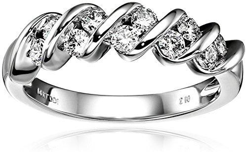 14K 白金钻石 channel-set 周年纪念戒指 ( 1/ 2克拉总重, H-I 色, I1-I2净度) 2088.27元
