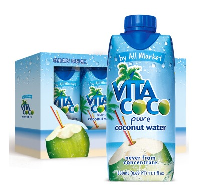 ¥15 唯他可可(VitaCoco)天然椰子水进口NFC果汁饮料330ml*4瓶-1号店