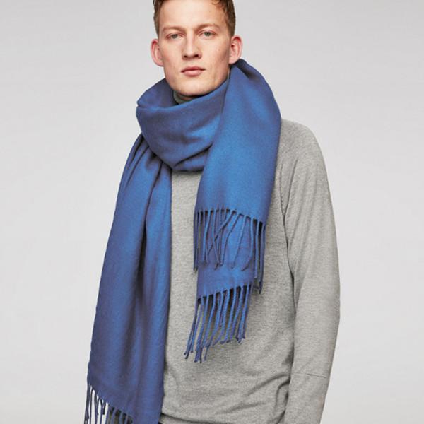 保暖时尚!ZARA男装蓝色流苏围巾05875321420 限时抢购价199元包邮