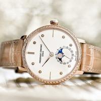 $1788 (原价$5350) 国内公价¥ 47900 Frederique Constant 超薄月相系列镶钻珍珠母贝镀玫瑰金机械女表