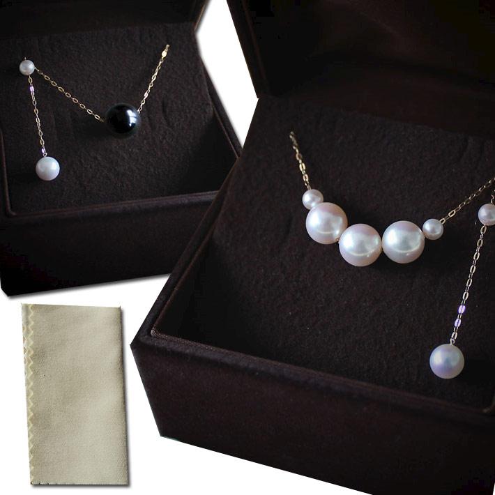 Akoya 海水珍珠 大溪地黑蝶珍珠项链+海水珍珠项链耳钉组合 30000日元 约合人民币1797元