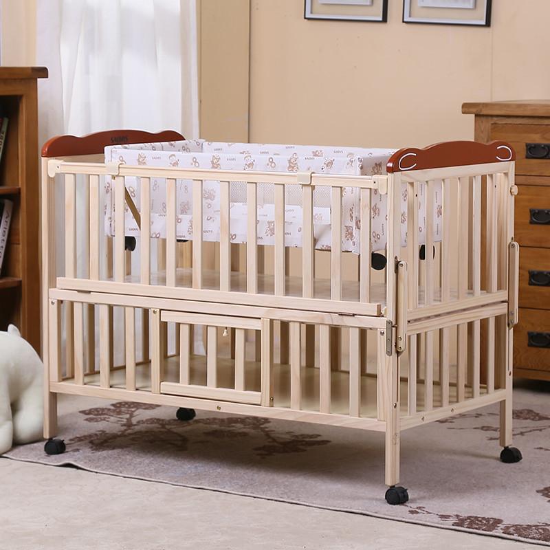 ¥429 实用款!SAOORS 小硕士 SK-8511 松木可摇带储物板婴儿床
