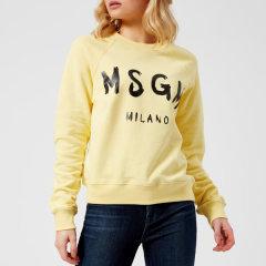包邮!MSGM logo 图案18年新款黄色卫衣
