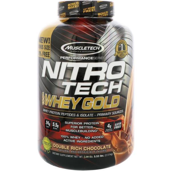 折合288元 肌肉科技100%金装乳清蛋白粉,双重浓郁巧克力味,5.53磅(2.51千克)