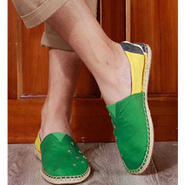 时尚好款!Joy&Mario快乐玛丽 男士 拼色麻底休闲鞋 147.52元包邮(需用券)