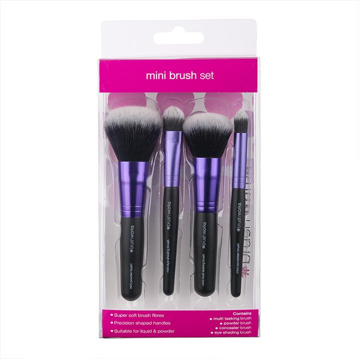 Brushworks 迷你便携化妆刷 四件套装 £6.69 约60元 可凑单包直邮