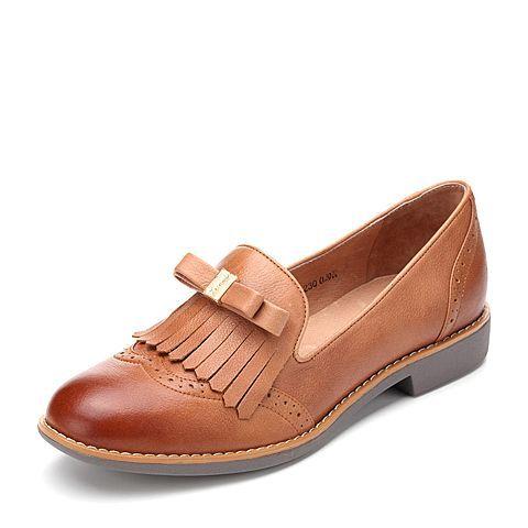 ¥239 Teenmix/天美意春棕色牛皮女单鞋麦穗鞋6RY43AQ7