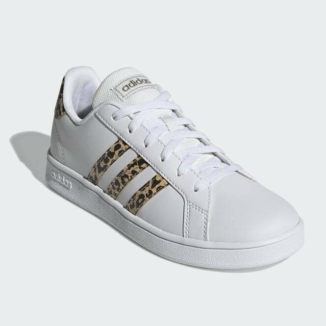 成人可穿!Adidas 阿迪达斯 GRAND COURT 豹纹童款板鞋 折合127.43元